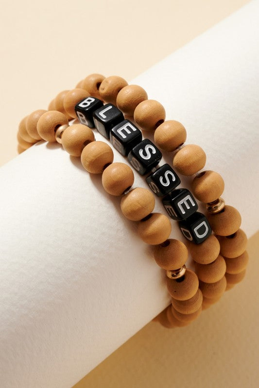 Inspirational Wood Beaded Bracelet Set