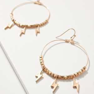 Thunder Bolt Charms Wire Hoop Earrings