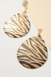 Animal Print Metallic PU Leather Earrings