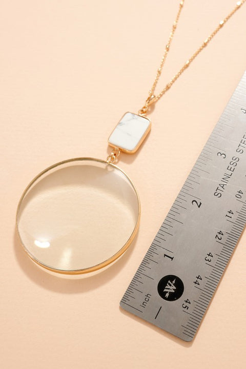 Round Glass Stone Pendant Long Necklace