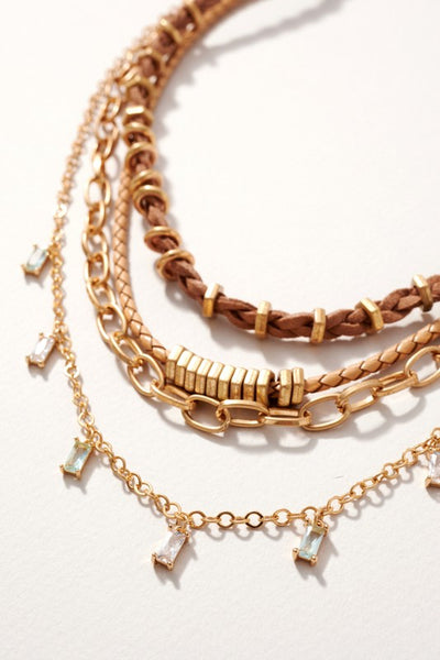 Braided Leather Chain Linked Layered Necklace