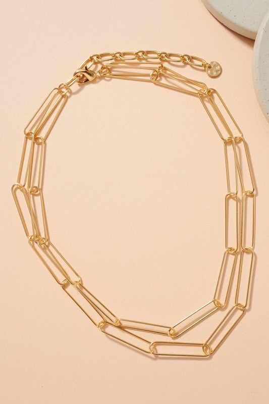Chain Linked Layered Metal Necklace