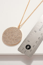 Round Pendant Rhinestones Long Necklace
