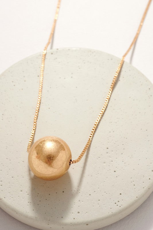 Metal Ball Pendant Long Necklace