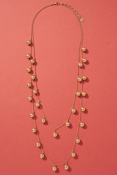 Metal Beaded Layered Necklace