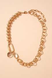 Coin Charm Metal Beaded Linked Necklace