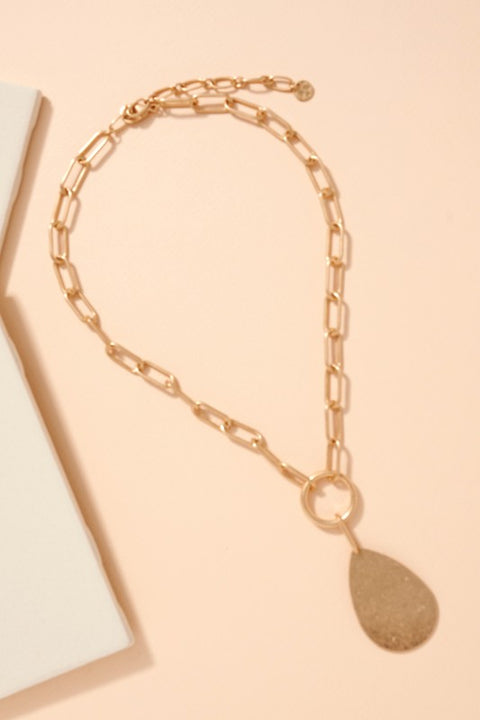 Tear Drop Pendant Chain Linked Necklace