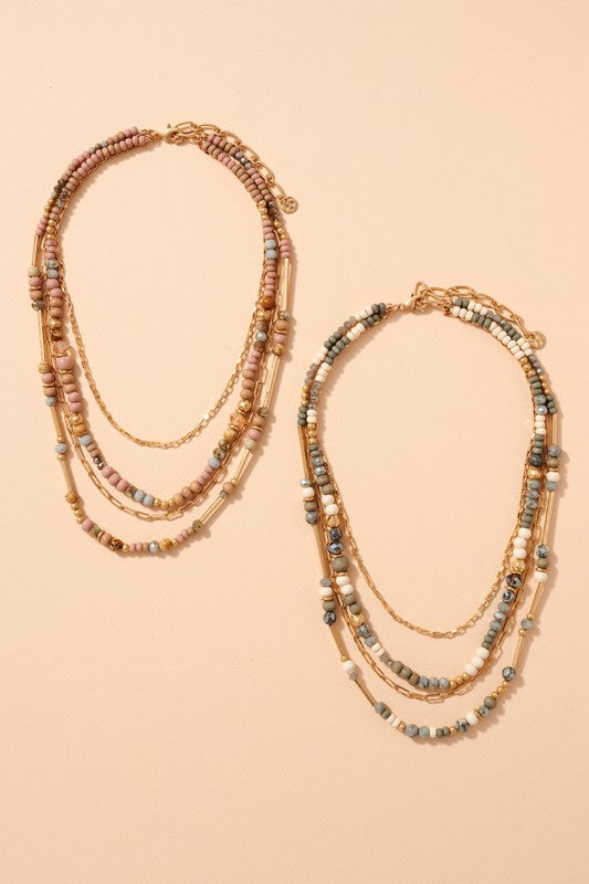 Wood Stone Glass Beads Layered Necklace