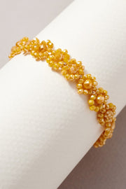 Glass Beaded Floral Stretch Bracelet