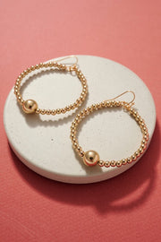 Metal Beaded Hoop Earrings