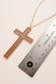 Leather Cross Pendant Long Necklace