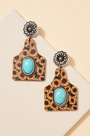 Cattle Tag Stones Wooden Western Earrings
