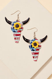 Longhorn Skull Sunflower Western Earrings