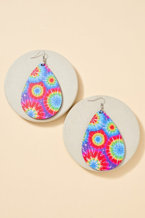 Tie Dye Tear Drop Wooden Earrings