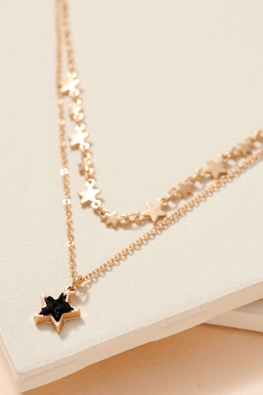 Faux Druzy Star Charm Layered Necklace