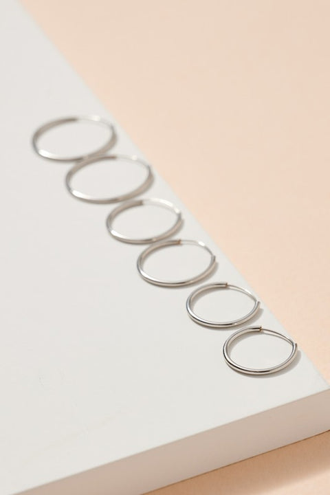 Metal Hoop Earrings Set