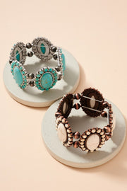 Western Design Stones Stretch Bracelet