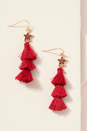 Star Druzy Stone Tripple Tassel Earrings
