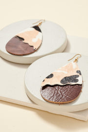 Animal Print Leather Tear Drop Earrings