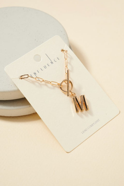 Initial Pendant Toggle Short Necklace
