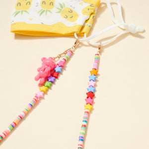 Star Rubber Beads Teddy Charm Lanyard