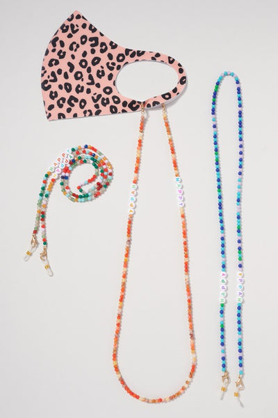 Stone Glass Beaded Mask Lanyard