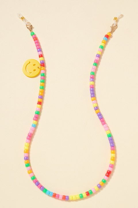 Seed Beaded Smiling Face Charm Mask Lanyard