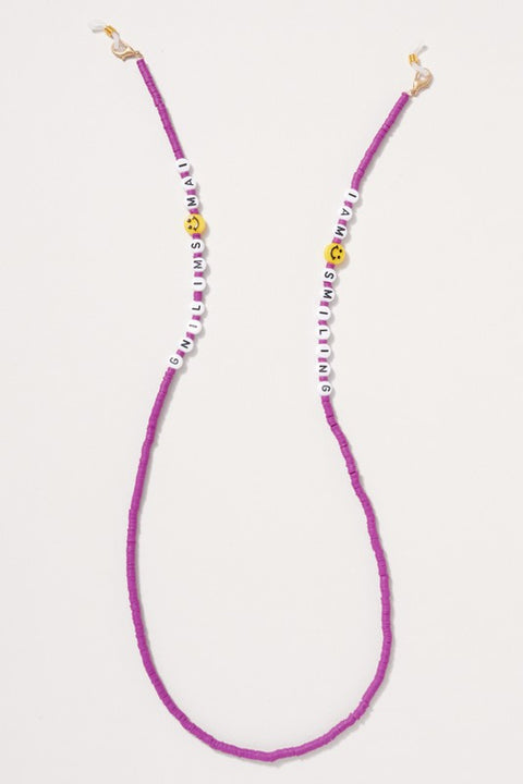 Rubber Beaded Smiling Charm Mask Lanyard