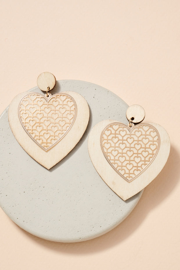 Heart Wooden Cut Out Metal Earrings 1