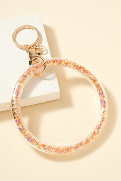 Stars Glitters Filled Tube Key Ring