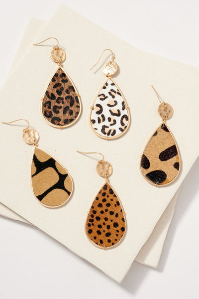 Animal Print Calf Hair Leather Dangling Earrings