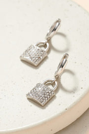 Lock Shape Charm Hoop Earrings
