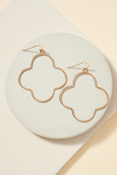 Clover Brass Dangling Earrings