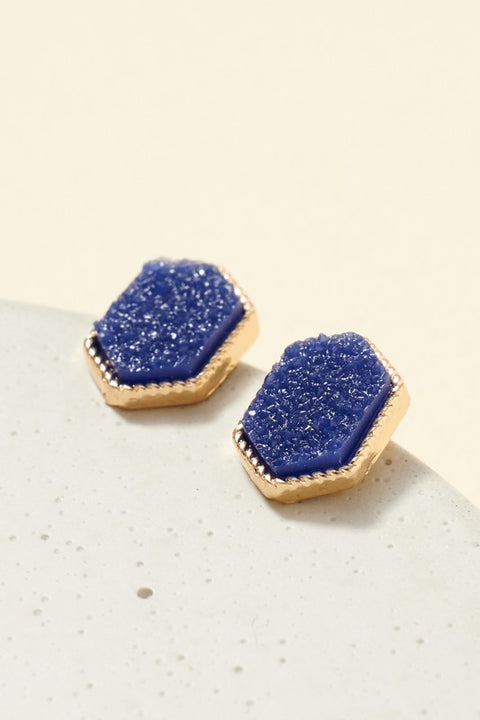 Hexagon Druzy Stone Stud Earrings