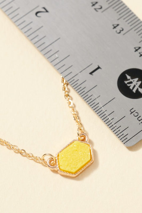 Hexagon Druzy Stone Charm Short Necklace