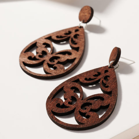 Tear Drop Cut Out Wooden Earrings