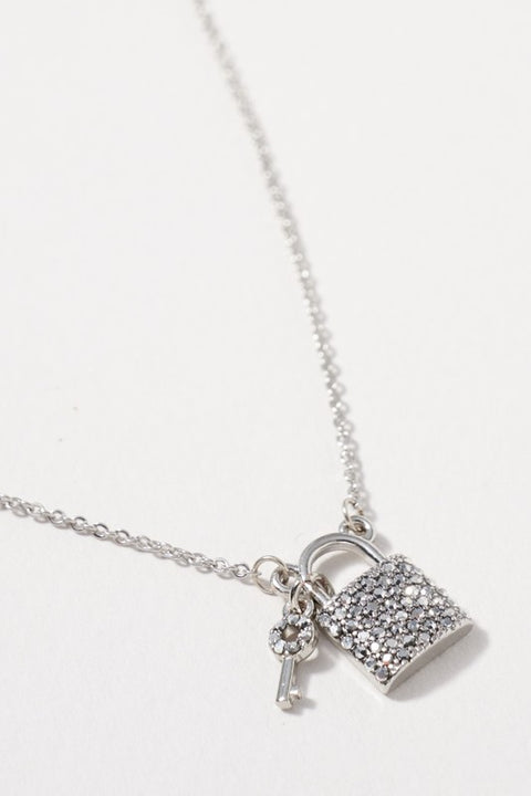 Lock Key Charm Rhinestones Short Necklace