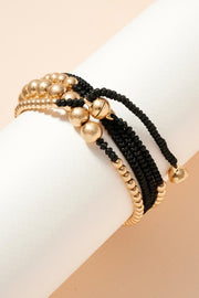 Metal Beads Cord Layered Bracelet