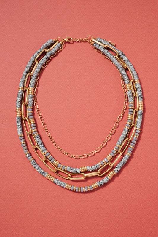 Glass Rubber Beads Layered Necklace