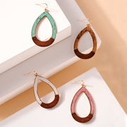 Tear Drop Cork Wood Dangling Earrings