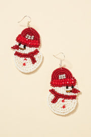 Snow Man Seed Beaded Earrings