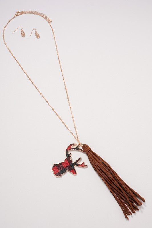 Buffalo Print Antler Charm Tassels Necklace