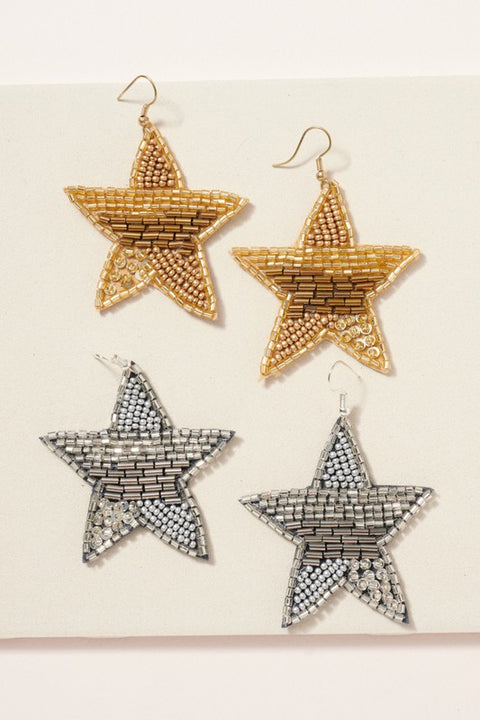 Star Beaded Dangling Earrings