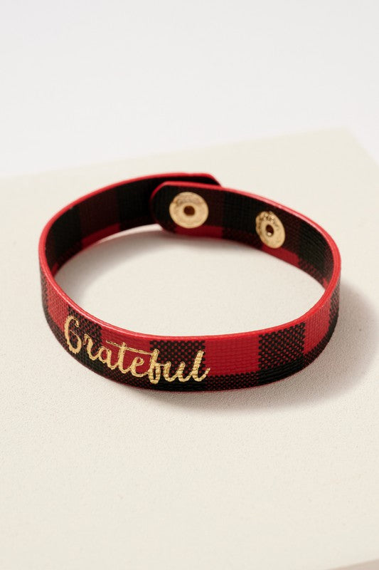 Grateful Inspirational Buffalo Print Bracelet