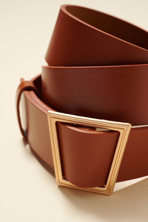 Trapezoid Metal Buckle Faux Leather Belt