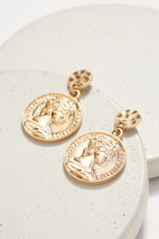 Coin Round Dangling Metal Earrings