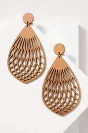 Laser Cut Out Wooden Earrings