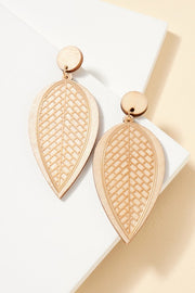 Leaf Wood Cut Out Metal Earrings