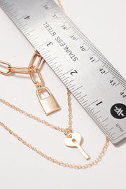 Lock And Key Charms Layered Necklace