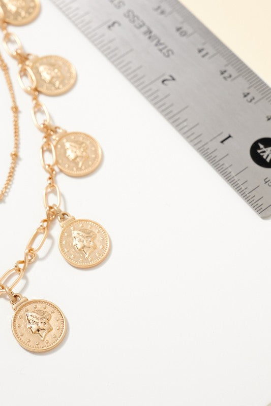 Coin Charms Layered Necklace